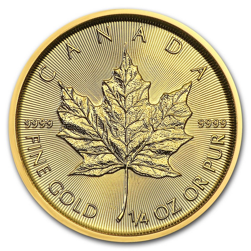 Moneda Maple Leaf Canadiense De Oro 1 4 Oz 2018 Dracma